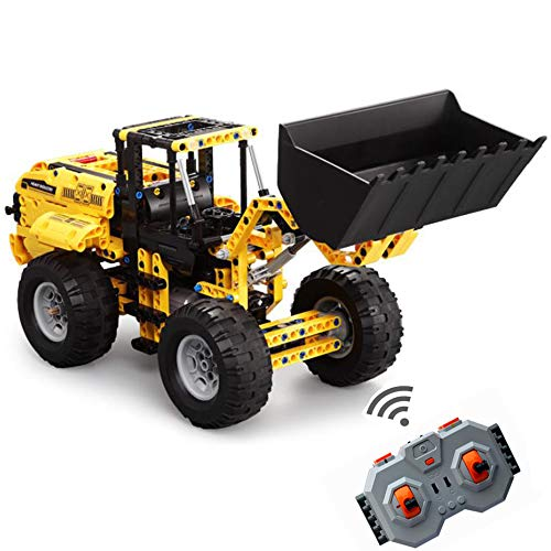 WXIAORONG Remote Control Building Blocks, 2.4GHz Remote Control Wheel Loader Construction Car Building Kit-Build Your Own RC Machines Construction Set for Kids for Boys and Girl - Car Remote-control Kit
