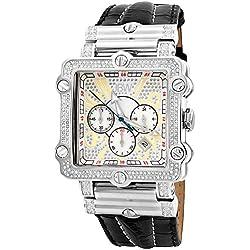 """Just Bling Herren JB-6215-238-B """"Hollywood Silver"""" Diamond-und Edelstahl-Lünette Lederband Uhren"""