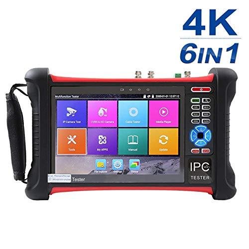 Überwachungskamera-Tester, 7-Zoll-1080P-Retina-Display, 6-in-1-IP-Kamera-Testmonitor mit SDI/TVI/AHD/CVI/R45/OPT/VFL/POE/WIFI/4K H.26 /HDMI-Eingang (8 GB SD-Karte inbegriffen)