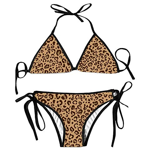 Womens Triangle Cheetah Pattern Colors Bikini Tie Side Bottoms String Two Piece Swimsuit Bathing Suit
