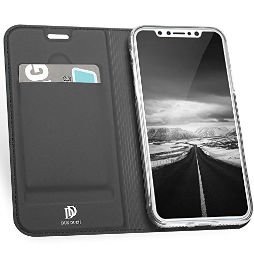 """iPhone X Wallet Case, VMAE Magnetic Folio Stand Ultra Slim Cover, PU Leather Card Slot Full Body Flip Skin Pro Series Protection Case for Apple iPhone X/iPhone 10 5.8"""" - Blue Black"""
