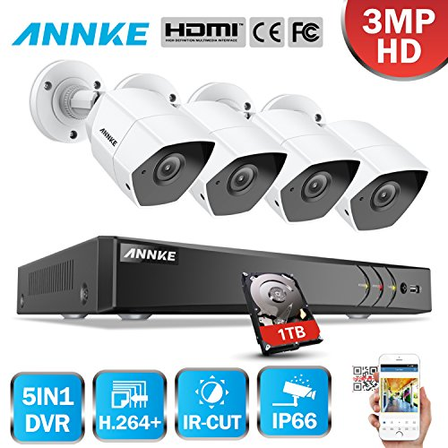 ANNKE-4CH-30MP-DVR-Kit-de-4-Cmaras-de-Seguridad-Vigilancia-CCTV-1080P-IP66-HD-H264-Cmara-Impermeable-de-Metal-Exterior-y-Interior-Visin-Nocturna-Deteccin-de-Movimiento-1TB-Disco-Duro