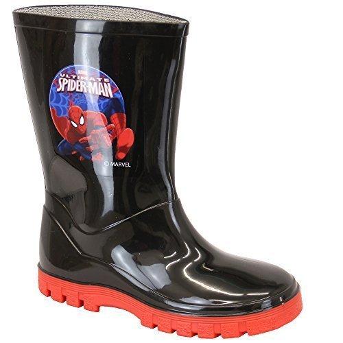 Garçons Bottes Favori Bottes En Caoutchouc Spiderman Olaf Star Wars Mi-mollet Disney Noir/Rouge - SPIDWELLY