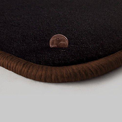Preisvergleich Produktbild Passgenau Fußmatten aus Velours Schwarz (Q300) und Rand in Braun (305) für Kia Ceed Cee`d / Ceed + Pro ED Facelift Bj. 2009-2013