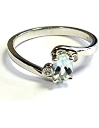 Brand New 0.30 Carat Oval Shaped Aquamarine and Round Diamond Ring, 9k White Gold