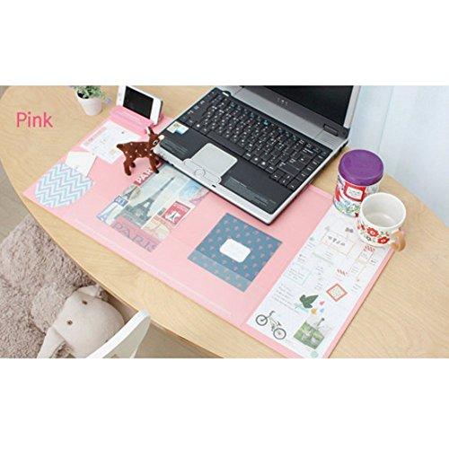 Famhome soporte de escritorio mate gran tamaño ratón cojín œanti escritorio mouse tapete escritorio impermeable protector alfombra con smartphone, calendario y bolígrafo Medio de rosa
