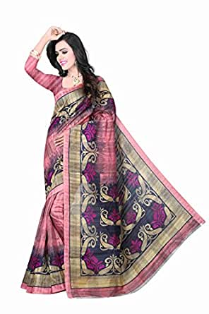 Hari Fashion Hub Women's Silk Saree(HF10485_Pink_Free Size)