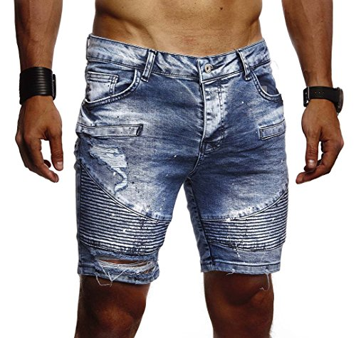 Leif Nelson Herren Männer Jungen Sommer Kurze Biker Jogger Jeans Hose Shorts Jeanshose Chinos Cargo Bermuda Basic 5-Pocket Destroyed Used Stretch Freizeithose Denim Slim Fit LN1663; W33; Blau