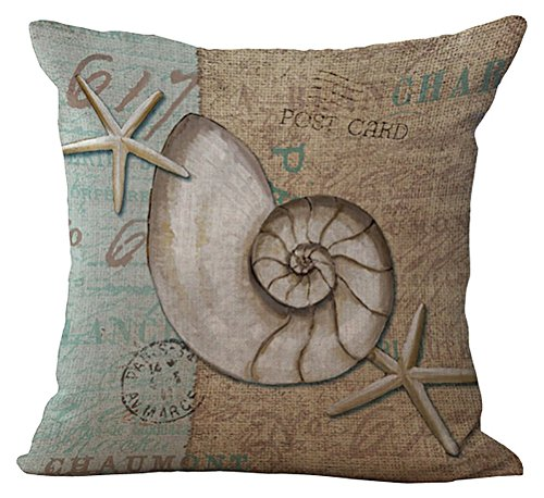Mondo Marino Cuscino stampato cotone lino throw pillow case sham forma Pillowslip Slipover quadrato con cerniera con federa per la casa divano sedia, Spiral Shell and Starfish, Cover WITHOUT Pillow Insert