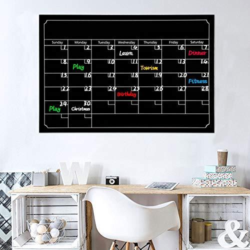 JSGJQQTT Wandaufkleber Black Dry Erase Board Tafel Monat Magnetische Kalender Tafel Wandaufkleber wohnkultur Wohnzimmerfür kinderzimmer (Black Dry Erase Board)