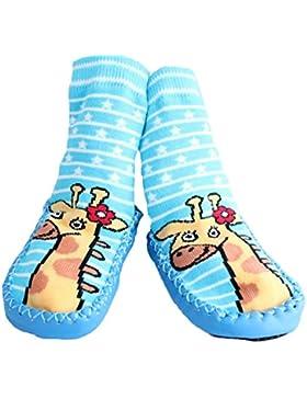 Bebé Niños Niños Calcetines de interior zapatillas zapatos Mocasín azul antideslizante rayas jirafa