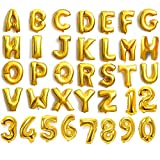 "4youquality Gold Silver Blue & Pink 16"" Alphabet Letter A-Z & Number 0-9 Foil Balloons For Wedding Party Name Non-Float (Letter V, Gold)"