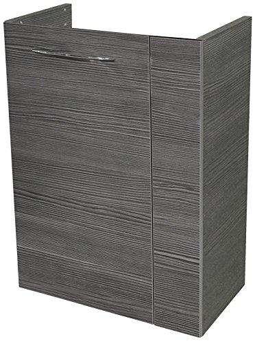FACKELMANN Mini-Waschtischunterschrank VADEA/Soft-Close-System/Maße (B x H x T): ca. 44 x 60 x 24 cm/hochwertiger Badschrank mit 1 Tür/Türanschlag Links/Korpus: Schwarz/Front: Schwarz