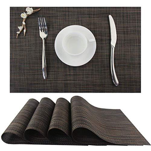LOLOMODA Platzdeckchen Abwaschbar Tischsets Stoff Platzmatten Kunststoff, Schmutzabweisend und Waschbare PVC Abgrifffeste Hitzebeständig Platzsets für küche Speisetisch 30x45cm Braun 6er Set