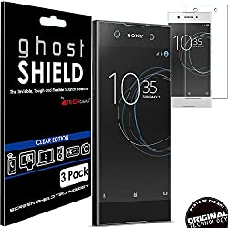 Techgear [Pack Of 3] Sony Xperia Xa1 [Ghostshield Edition] Genuine Reinforced Tpu Screen Protector Guard Covers With Full Screen Coverage Including Curved Screen Area [3d Curved Edges Protection]
