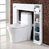 COSTWAY WC Toilette Schrank Toilettenregal Toilettenschrank Regalsystem Überbauschrank Badezimmerregal Badmöbel weiß