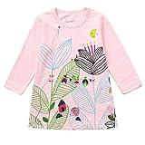RWINDG Kinder Mädchen Langärmelige Floral Cartoon Cat Print Kleid Kleidung Neugeborene Mädchen Bodysuit Romper Strampler Spielanzug + Stirnband