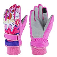 Kids Ski Gloves,Winter Warmest Waterproof and Breathable Snow Gloves for Boys Girls Children Skiing,Snowboarding Shoveling Windproof Juniors Thermal Gloves GL8 M (fit for 6-8 Year old kids) Pony