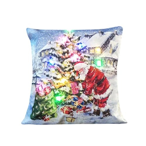 Weihnachtsdekoration Christmas Decoration LED Lichterkette Blinkende Stripes Zierkissenbezüge Sofa Zierkissen Kissen Kissenbezüge Christmas Lighting Flashing LED Kissen Cover Home Dekor (A)