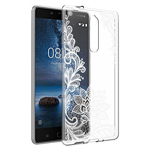 Eouine Nokia 8 hülle, Ultra Slim Soft TPU Muster Schutzhülle Silikon Stoßfest Bumper Case Cover für Nokia 8 2017 5.3-inch Smartphone (weiße Blume)