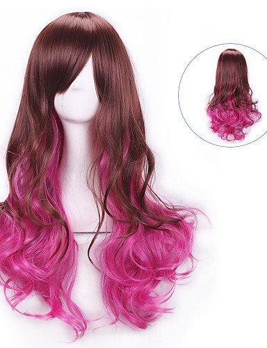 Perücken europäisches Haar braun rosarot langen lockigen Haar Perücken Perücken Perücken Lolita Regenbogen synthetische Perücken perruque femme anime ombre (Perücke Für Erwachsene Lockigen Regenbogen Langen)