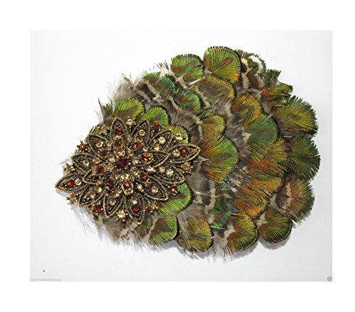 Vert olive or bronze plumes paon strass VTG cheveux clip R40 * * * * * * * * exclusivement vendu par – Beauté * * * * * * * *