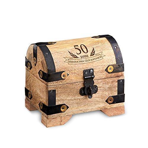 Geld-Schatztruhe zum 50. Geburtstag mit Gravur – Klein – Hell – Bauernkasse – Schmuckkästchen – Spardose – Aufbewahrungsbox aus Holz – originelle Geburtstagsgeschenk-Idee – 10 cm x 7 cm x 8,5 cm