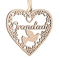 Alphabet barn In Memory Grandad Gift Plaque Remembrance Decoration In Loving Memory Wooden Heart Dove Christmas Tree Bauble Present from Son Daughter Grandchildren 11cm