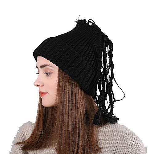Wolle warme Mütze Retro gefälschte Peitsche Womens Winter Stricken tägliche Slouchy Hüte Hut (Farbe : Schwarz)