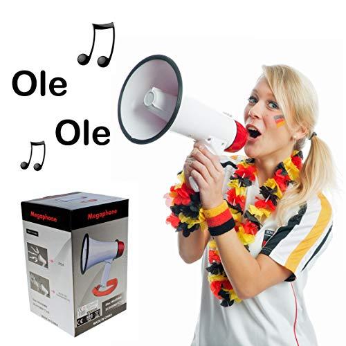 NET TOYS Lautstarkes Megafon mit Sirene   Batteriebetrieben mit ca. 14 x 22 cm in weiß   Vielseitiges Party-Accessoire Sprachrohr   Perfekt geeignet für Straßenkarneval & Junggesellenabschied