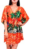 Virgin Crafts Women's Trim Kaftan Hawaiian Print Swimwear Beach Cover