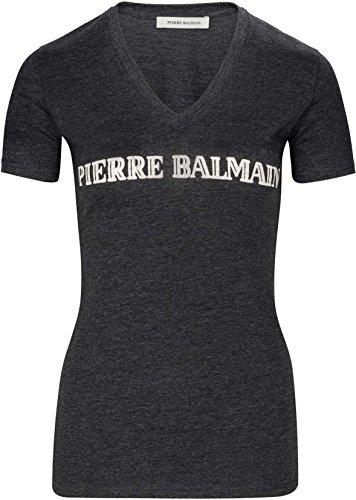 Pierre Balmain Damen Shirt Longshirt Logo Print T-Shirt, Farbe: Dunkelgrau, Größe: 36