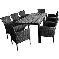 Multistore 2002 9tlg. Gartengarnitur Aluminium Gartentisch, Tischplatte Polywood, 205x90cm + 8X Rattansessel, Bespannung Polyrattan, Schwarz - Gartenmöbel Set Sitzgarnitur Sitzgruppe