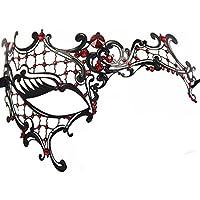 Gearmax® Squisito stile veneziano pizzo strass di cristallo Cosplay di maschera per Halloween Masquerade Costume Party(Nero / Rosso strass)