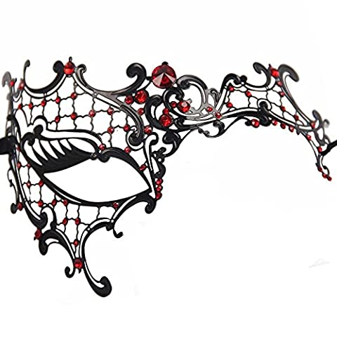Gearmax® Hollow Out Glossy Metal Filigree Phantom Half Eye Mask for Venetian Masquerade Party Ball Gift (Black with Red Rhinestone)
