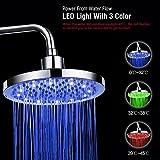 Soffione doccia rotondo, 20 cm di diametro, in acciaio inox, per bagno, con lampada LED RGB e...