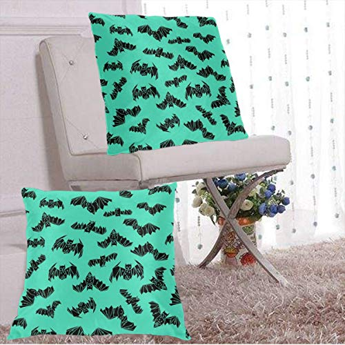 f 2 Decorative Outdoor Waterproof Cover Bat Geo Bat Geometric Hand-Drawn Bat Illustration Halloween Bright Green Non-Directional Print by Square Pillow Cushion Case Multiple Sizes ()
