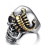 JAJAFOOK Herren Edelstahl Punk Jewelry Vergoldet Skorpion Kriechen Head Skull Finger Ring