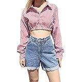 MOIKA Damen Tshirt Bauchfrei Frauen Casual Cuffed Langarm V-Ausschnitt Button up Gestreiftes Hemd Bluse Tops Slim Fit