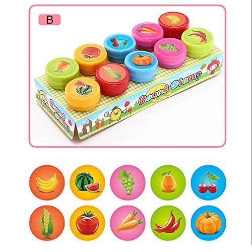 RENNICOCO 10 Stücke Schule Lehrer Selbstfarb Tier Obst Gemüse Muster Briefmarken Kinder Kinder Spielen Stempel Spielzeug