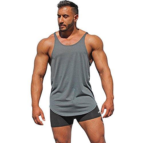 UJUNAOR Mann Tops Tank Tankshirt Weste Muscleshirt Herren Bodybuilding Tank Top Sport Weste Gym Ohne Arm T-Shirt (Grau,EU 3XL/CN 4XL)