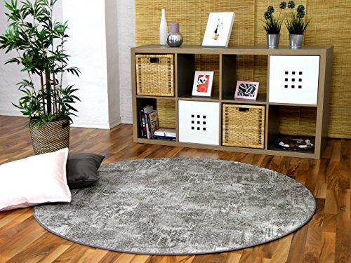 Designer Soft-Velours Teppich Vintage Grau Rund in 7 Größen