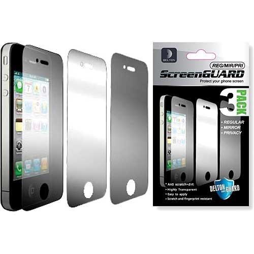 DELTON SPIPH3PPRM Displayschutzfolien für iPhone 4 / 4S (inklusive 1 verspiegelter Sichtschutz und 1 regulär) 3 Stück (4s Sichtschutz Iphone)
