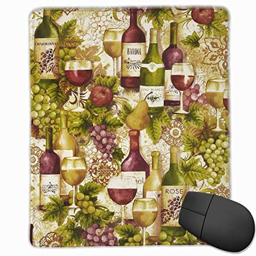 Vineyard Collection Wine Bottles Merlot Rectangle Non-Slip Rubber Mouse Pad with Stitched Edges -