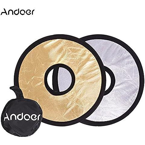 Andoer® 30cm 2 en 1 Multi-Disc Reflector Redondo Hueco Plegable Montaje de Lente Luz (Plata Oro)