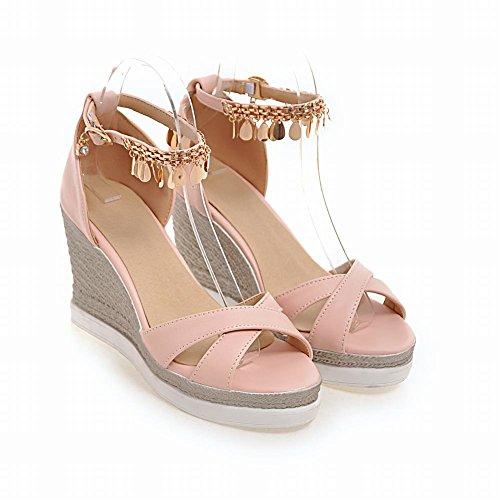 MissSaSa Femmes Sandales Compensé Bride Cheville Chaussurs Plateformes Rose