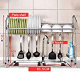 REGAL BOBE Shop- Küchen-Multifunktionsregal mit 8 Haken - Single Layer 304 Edelstahl Schale/Abflussregal/Abtropfbrett/Löffel (größe : A)