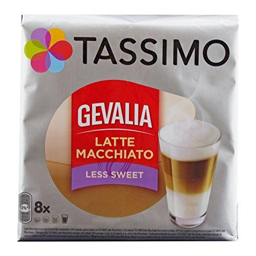 Tassimo Gevalia Latte Macchiato Less Sweet, Weniger Süß, Gemahlener Röstkaffee, Kaffeekapsel, 8 T-discs Tassimo T-discs Gevalia