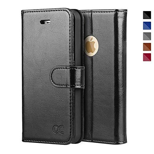 OCASE iPhone 5S Hülle, Handyhülle iPhone 5 Tasche Flip Case Cover Schutzhülle [Premium Leder] [Standfunktion] [Kartenfach] [Magnetverschluss] Leder Brieftasche für iPhone 5S SE 5 Geräte Schwarz