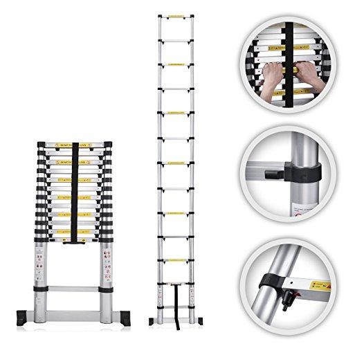 MAXCRAFT Teleskopleiter Aluleiter Stehleiter Abstandshalter Fingerklemmschutz Anlegeleiter Mehrzweckleiter Multifunktionsleiter 3,80 m